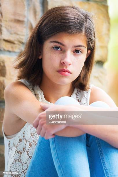 serious girl - one teenage girl only stock pictures, royalty-free photos & images