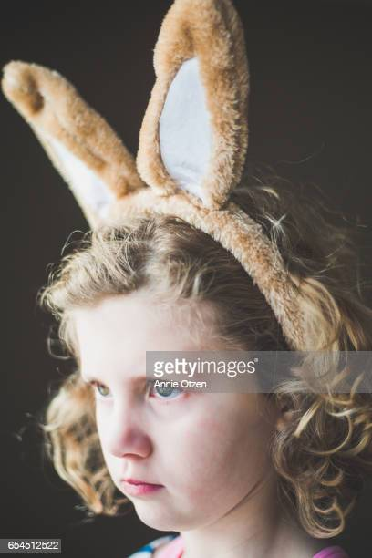 Serious Girl with Bunny Ears