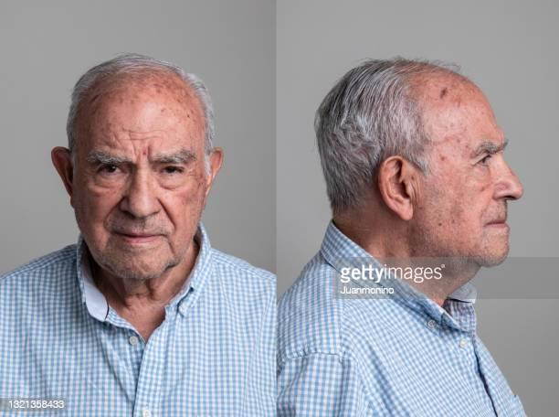 serious hispanic senior man front and profile mugshots - police mugshot stock pictures, royalty-free photos & images