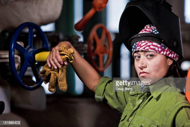 Serious Hispanic welder