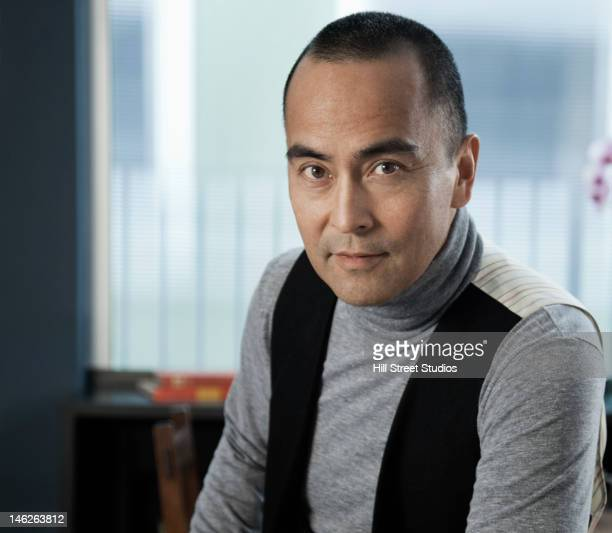 Serious Japanese businessman