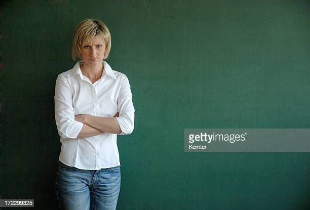 serious looking female teacher