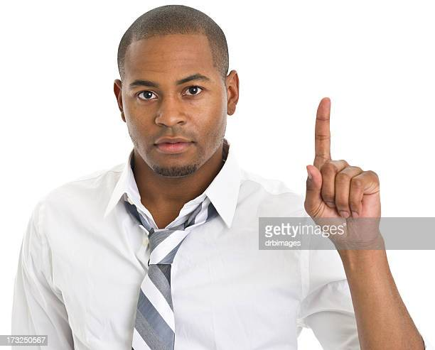 Serious Man Gives One Finger Gesture