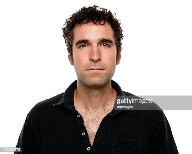 Serious man in black shirt portrait