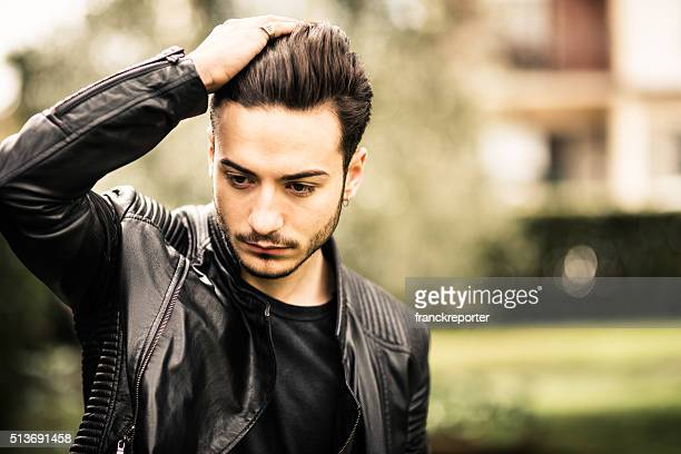 Serious man with leather jacket