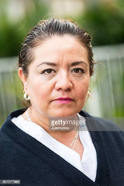 Serious mature hispanic woman