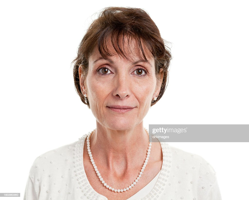 Serious Mature Woman Mug Shot Portrait : Stockfoto