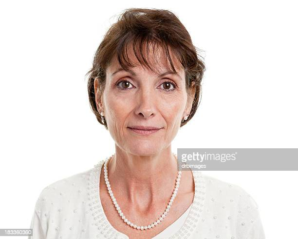 Serious Mature Woman Mug Shot Portrait