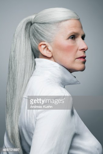 Serious Mature Woman With Long Grey Ponytail High Res