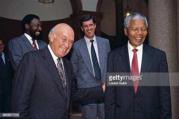 A serious meeting between FW de Klerk and Nelson Mandela ends in laughter at de Klerk's joke The two leaders are meeting following the death of...