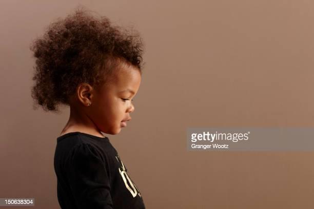 Serious mixed race baby girl
