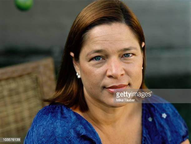 Serious mixed race woman