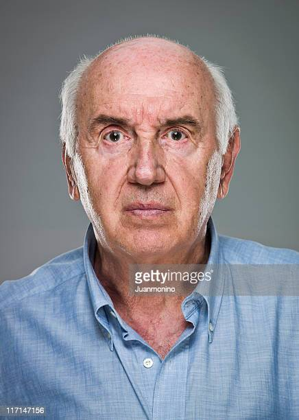 serious senior man (real people) - completely bald stock photos and pictures