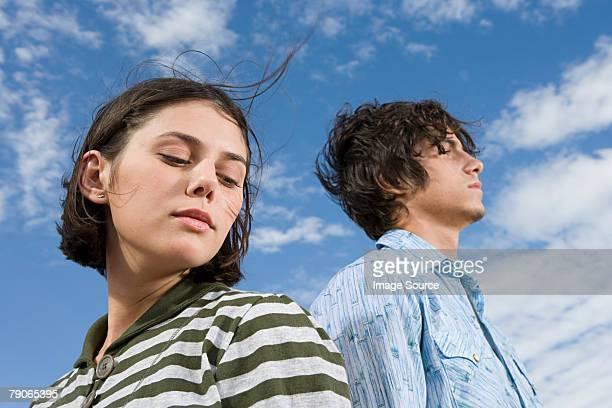 Serious teen couple
