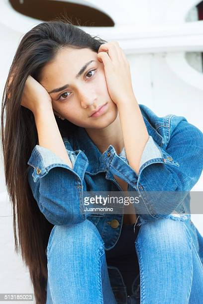 serious teenage girl - beautiful mexican girls stock photos and pictures