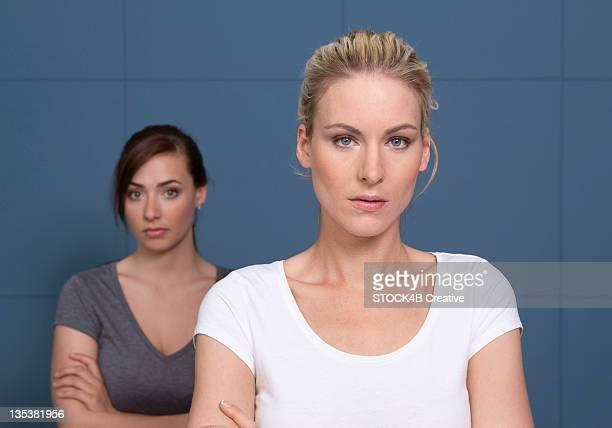 Serious woman and teenage girl