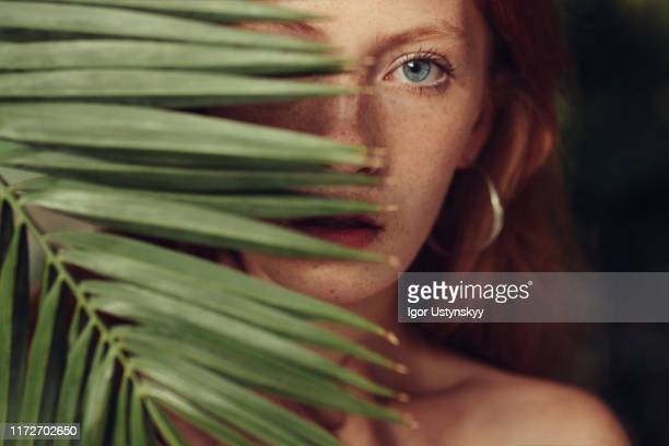 serious woman looking through plant - nudisten stock-fotos und bilder