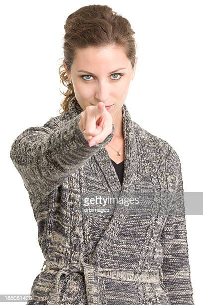 Serious Woman Pointing At Camera