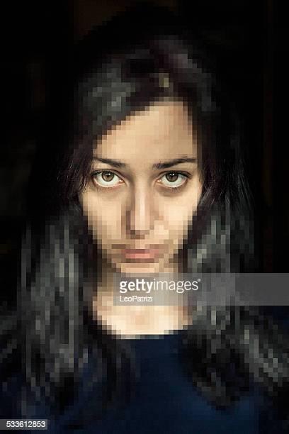 Serious woman portrait on black background