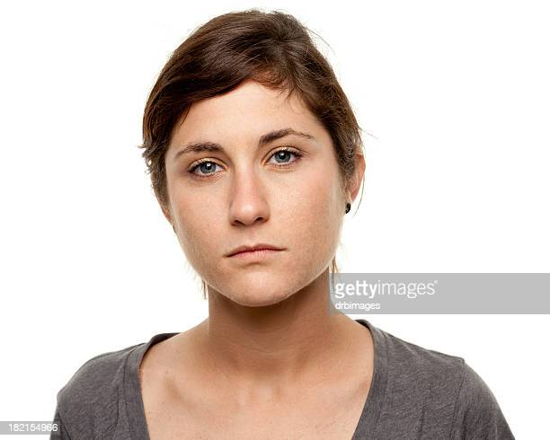 serious young woman blank expression mug shot portrait - 20 29 years stock pictures, royalty-free photos & images