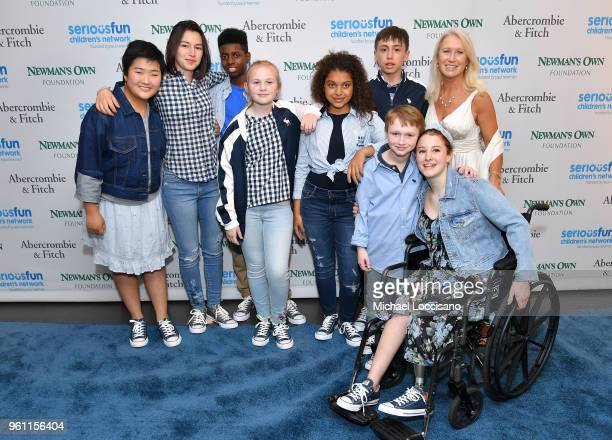 SeriousFun campers and Clea Newman Soderlund attend the 2018 SeriousFun Children's Network Gala at The Ziegfeld Ballroom on May 21 2018 in New York...
