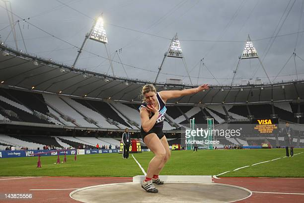 Serita Shone of LMC University who broke her back six months ago in a bobsleigh accident competes in the women's shot put qualification during day...