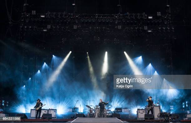 Serj Tankian Shavo Odadjian and Daron Malakian of System of a Down performing live on Day 1 of Download Festival at Donington Park on June 9 2017 in...