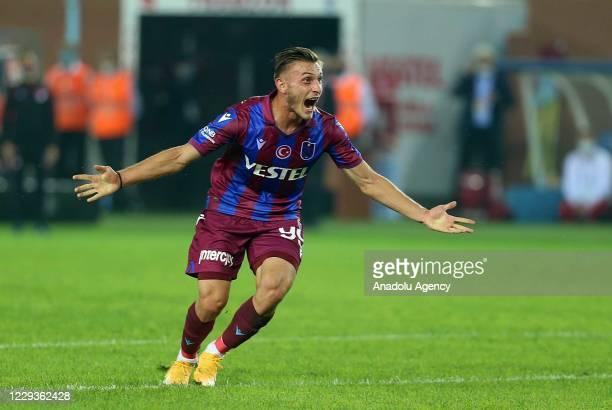 Serkan Asan of Trabzonspor celebrates after scoring a goal during Turkish Super Lig match between Trabzonspor and Kasimpasa in Trabzon, Turkey on...
