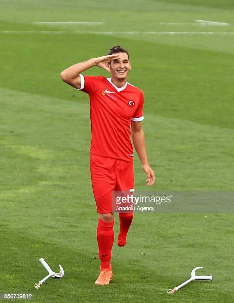 Serkan of Turkey celebrates his score during a European Amputee Football Federation European Championship match between Turkey and Germany in...