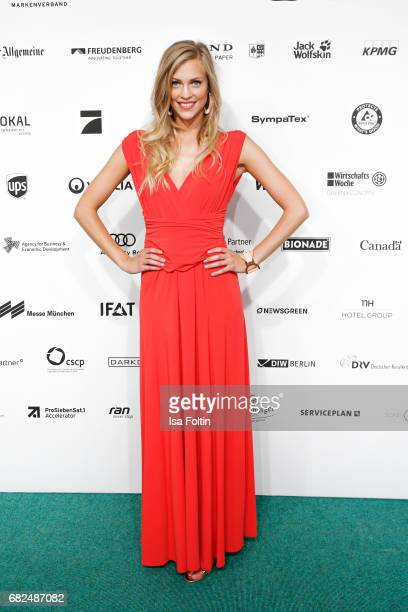 Serlina Hohmann GNTM Top 8 finalist wearing a dress designed by Eva Lutz attends the GreenTec Awards at ewerk on May 12 2017 in Berlin Germany