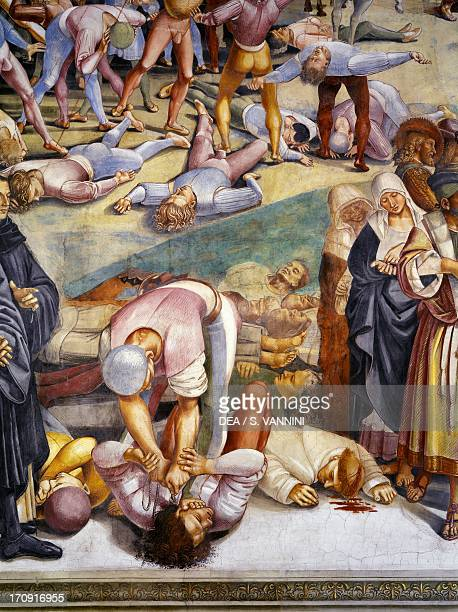 Sermon and Deeds of the Antichrist, from the Last Judgment fresco cycle, 1499-1504, by Luca Signorelli , San Brizio Chapel, right transept of Orvieto...