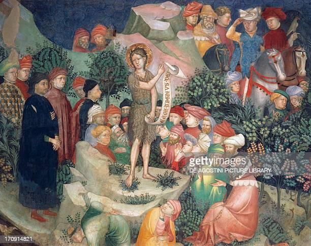 Sermon of Saint John the Baptist detail of fresco by Lorenzo and Iacopo Salimbeni Oratory of Saint John the Baptist Urbino the Marches Italy