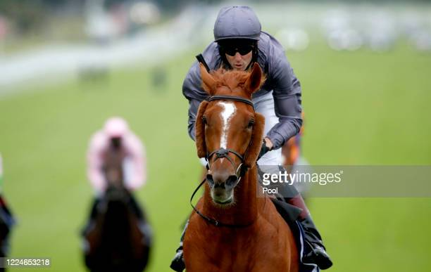 Serpentine and Emmet McNamara winning The Investec Derby at Epsom Racecourse on July 04 2020 in Epsom England The famous race meeting will be held...