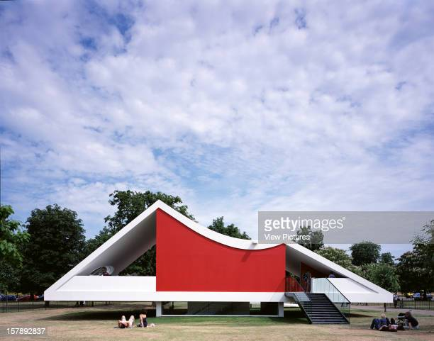 Serpentine Gallery Summer Pavilion 2003 London United Kingdom Architect Oscar Niemeyer Serpentine Gallery Pavilion Rear Elevation With Red Wall And...
