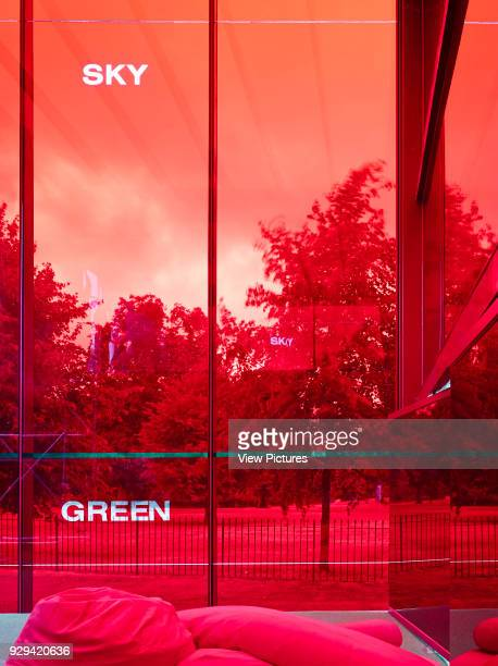 Serpentine Gallery Summer Pavilion 2010 London United Kingdom Architect Jean Nouvel 2010 View through red glazing towards garden green