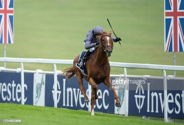 Serpentine ridden by Emmet McNamara wins the Investec Derby at Epsom Racecourse on July 04 2020 in Epsom England The famous race meeting will be held...