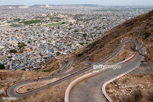 Serpentine road and views of Jaipur, Rajasthan, India, Asia