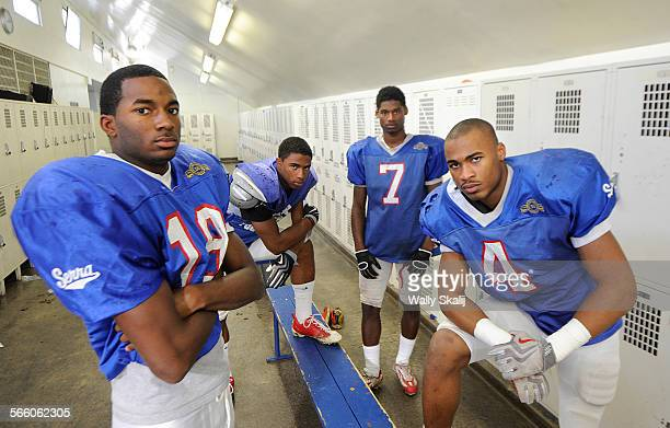 Serra footbal players from left, Paul Richardson, George Farmar, Lindsey Anderson and Robert Woods is one of the best collection of wide receivers...