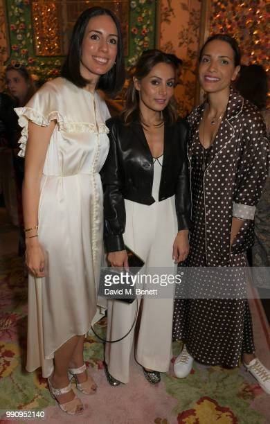 Serra Turker Narmina Marandi and Racil Chalhoub attend the Mrs Alice x Misela launch event at Annabel's on July 3 2018 in London England