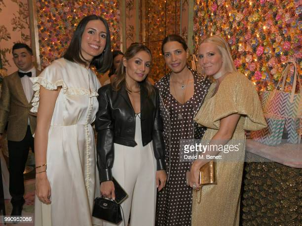 Serra Turker Narmina Marandi Racil Chalhoub and Alice NaylorLeyland attend the Mrs Alice x Misela launch event at Annabel's on July 3 2018 in London...