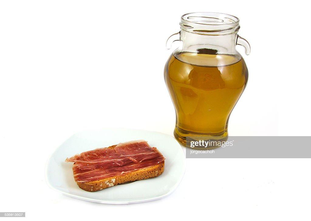 Serrano ham and extra virgin olive oil. Jabugo. Mediterranean diet : Stock Photo