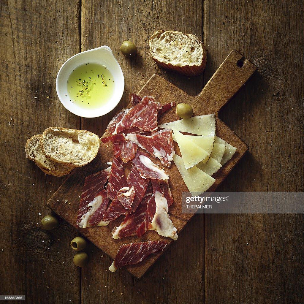serrano ham and tapas : Stock Photo
