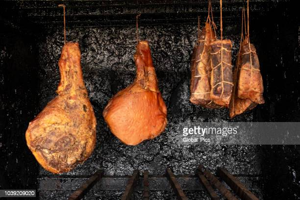 serrano ham - smoked food stock photos and pictures