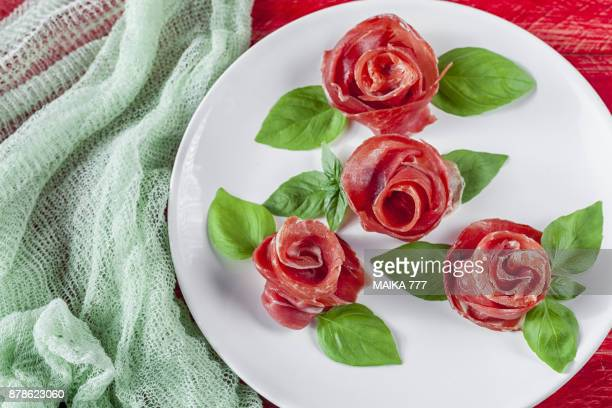Serrano ham roses