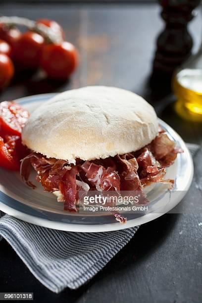serrano ham sandwich - serrano ham stock photos and pictures