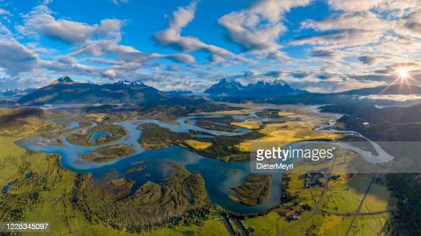 serrano river from mirador rio serrano, torres del paine, chile - latin america stock pictures, royalty-free photos & images