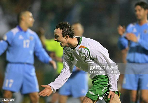 Ireland's Stephen Ireland celebrates after scoring against San Marino during their Euro2008 Group D qualifying match at Serravalle's Olympic stadium,...