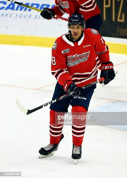 Serron Noel of the Oshawa Generals skates against the Mississauga Steelheads during game action on October 25 2019 at Paramount Fine Foods Centre in...