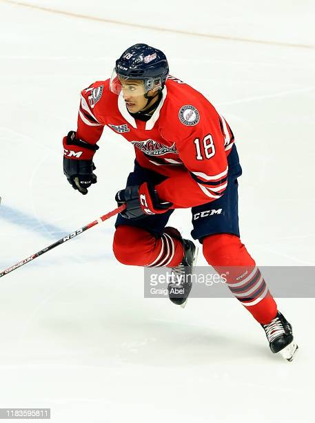 Serron Noel of the Oshawa Generals skates against the Mississauga Steelheads during game action on October 25, 2019 at Paramount Fine Foods Centre in...