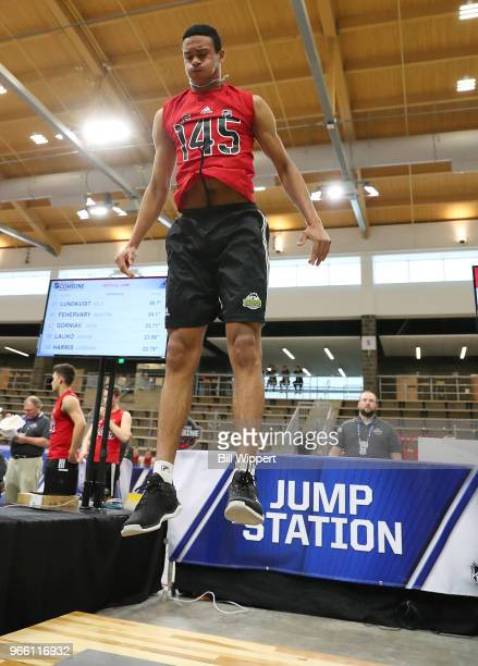 Serron Noel performs at the jump station during the NHL Scouting Combine on June 2 2018 at HarborCenter in Buffalo New York